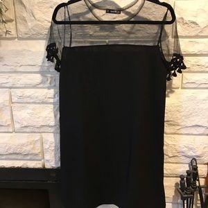 NWOT Black Mesh Tassel Dress